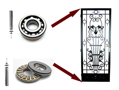Bearings used when installing wrought iron doors